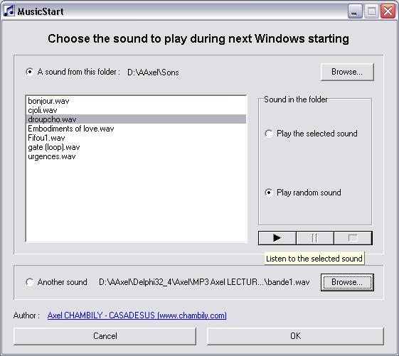 MusicStart - music, sound, windows, start, change - Vary sounds at Windows start